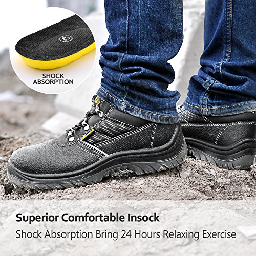 Lightweight Safety Work Boots Black L7222 Leather Toe Men Shoes Cap Water SAFETOE Steel Resistant 4IwgqxPzx