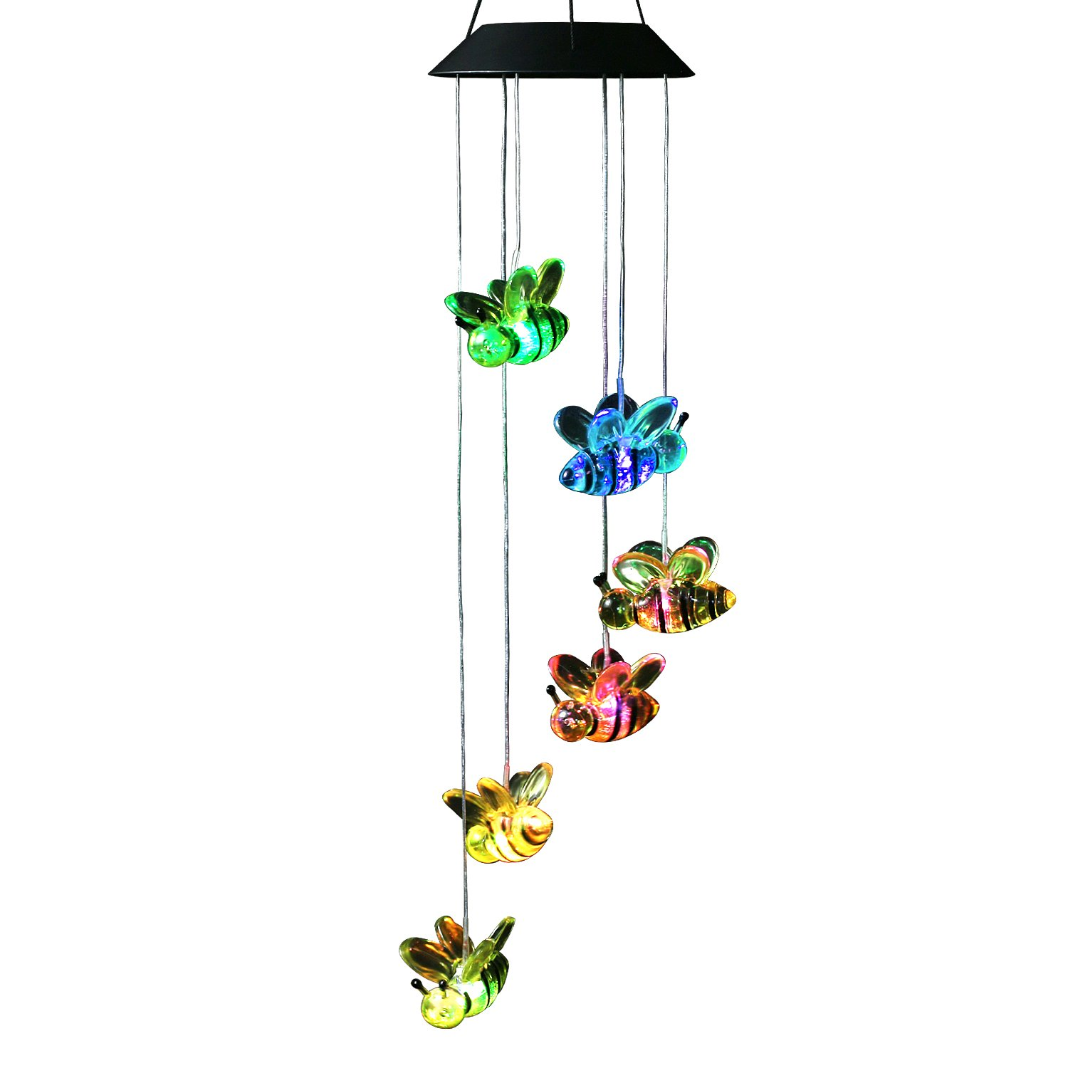 Changing Color Bee Solar Powered Mobile, Anzome Spiral Spinner Windchime Wind Chime Outdoor Decorative Windbell Light for Patio, Deck, Yard, Garden, Home, Pathway