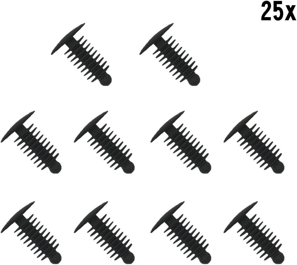 Muchkey® - 1 x 25 clips de plástico para embellecedores de puertas de 6,4 x 19 mm