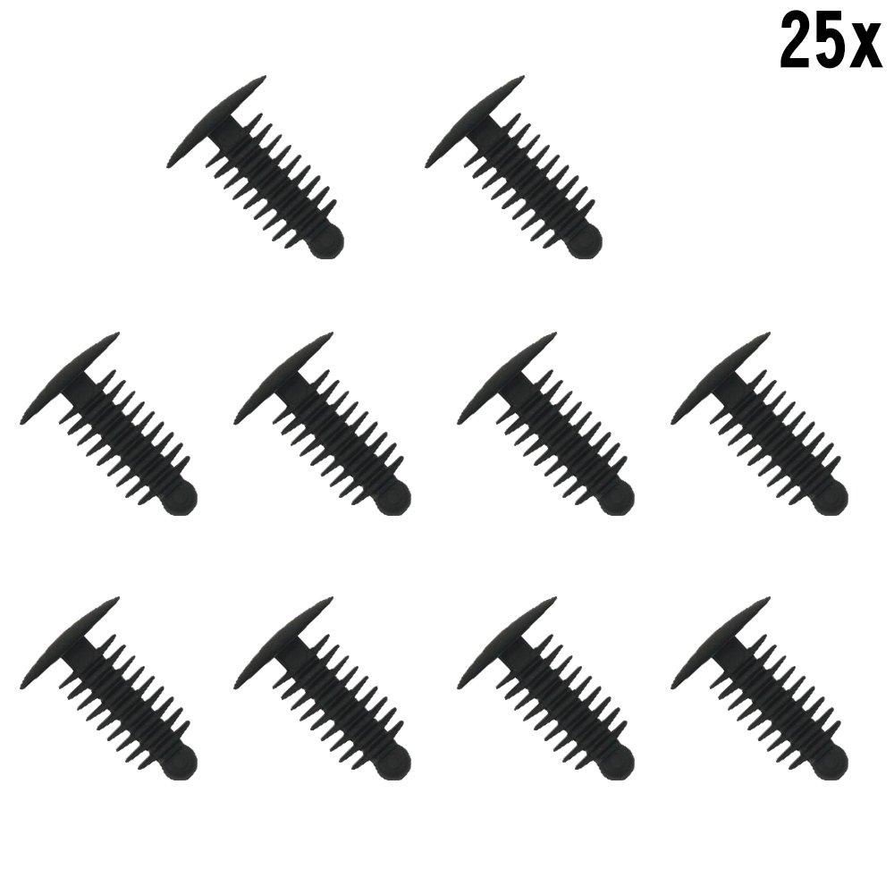 Muchkey® 1x 25 Plastic Trim Clip Plastic Rivets Clips Fir Tree Plastic Car Trim Clips Black - Fits 6-7mm hole- 14mm Head MyHung