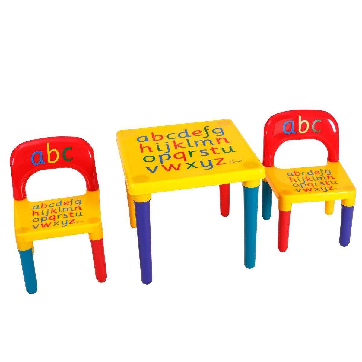Costway Table et Chaises pour Enfants Ensemble Table et Chaises Lettres de lAlphabet en Plastique Cadeau Educatif
