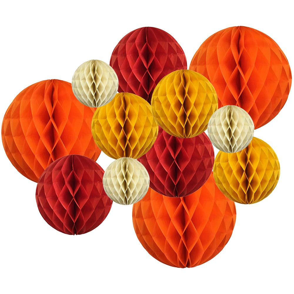 Just Artifacts Decorative Round Tissue Paper Honeycomb Balls 12pcs Assorted Sizes Color: Peach//Sky Blue