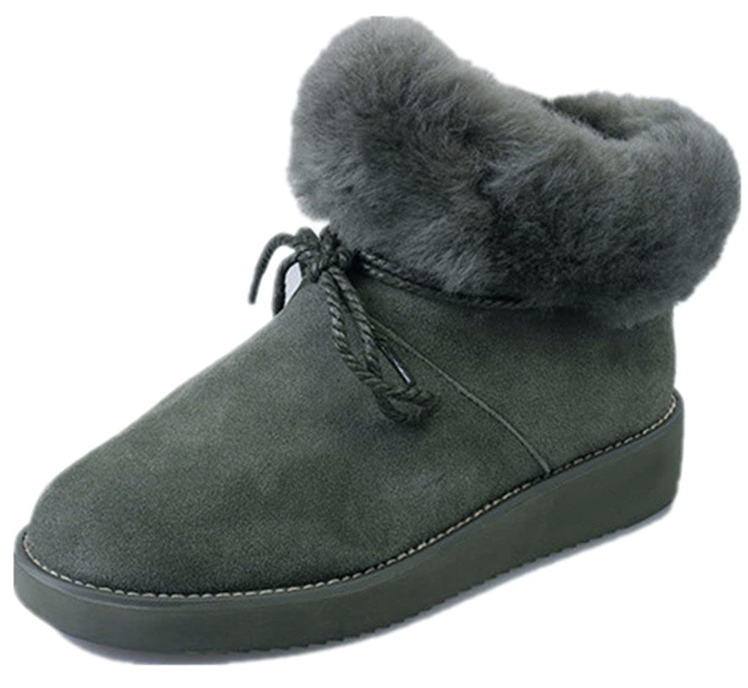 MoomTry Womens Snow Shoes Artificial Fur Warm Ankle Boot