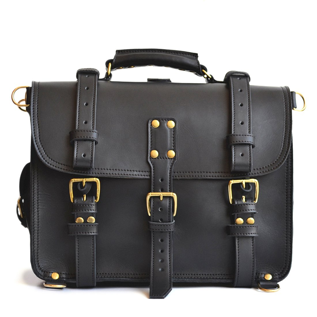 Solid Brass Hardware Full Grain Leather Marlondo Leather Double Space Briefcase 14, Black Solid Brass Hardware 14 TB01-B
