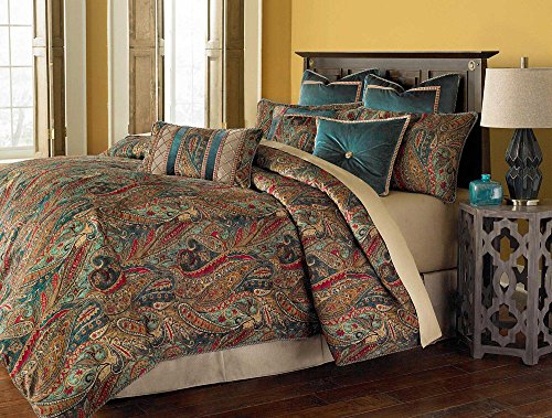 Michael Amini BCS-QS09-SEVILE-HNY 9 Piece Seville Comforter Set, Queen, Honey - Seville Comforter Set