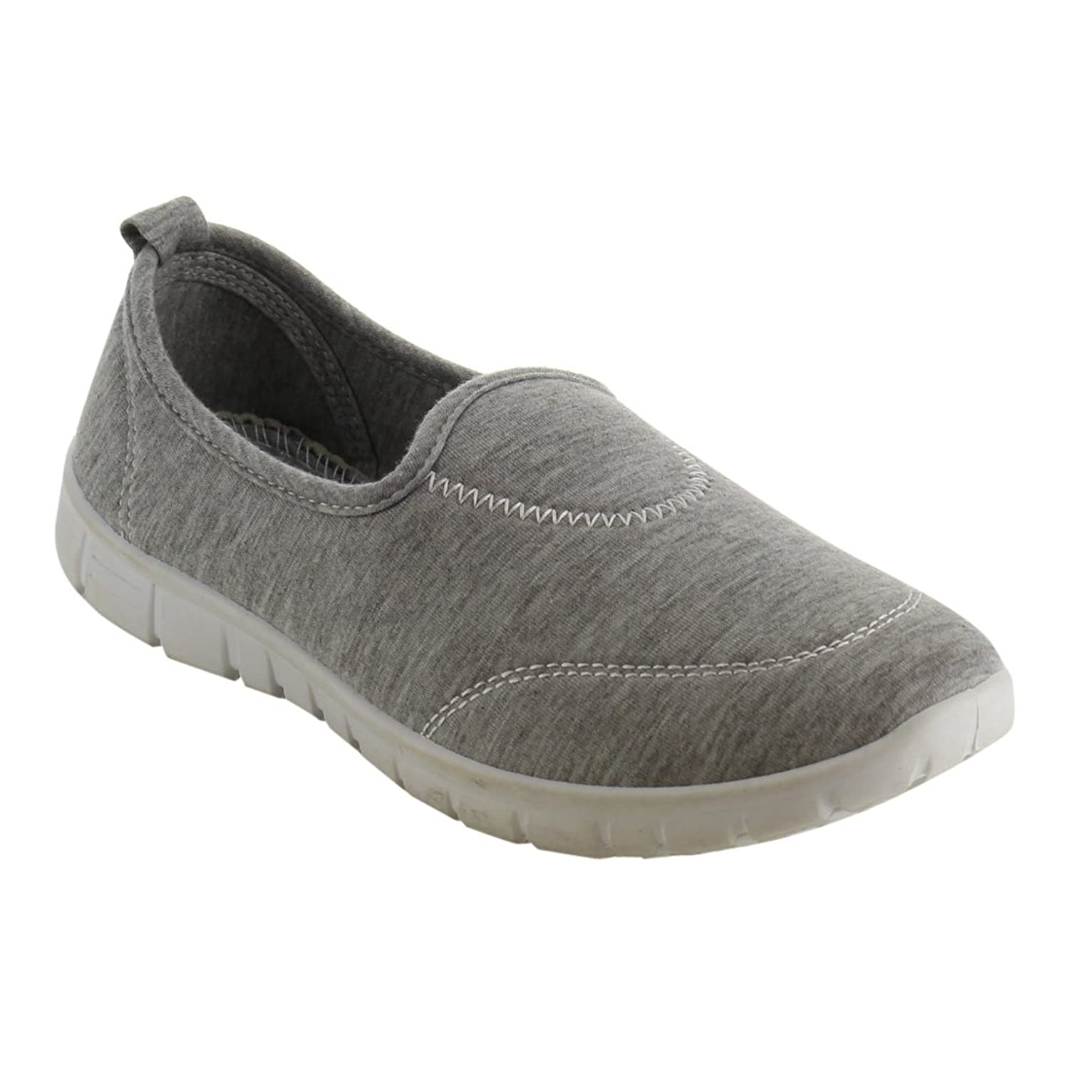 Refresh Jump-05 Women's Rubber Sole Fabric Soft Vamp Sport Flats Grey 7.5