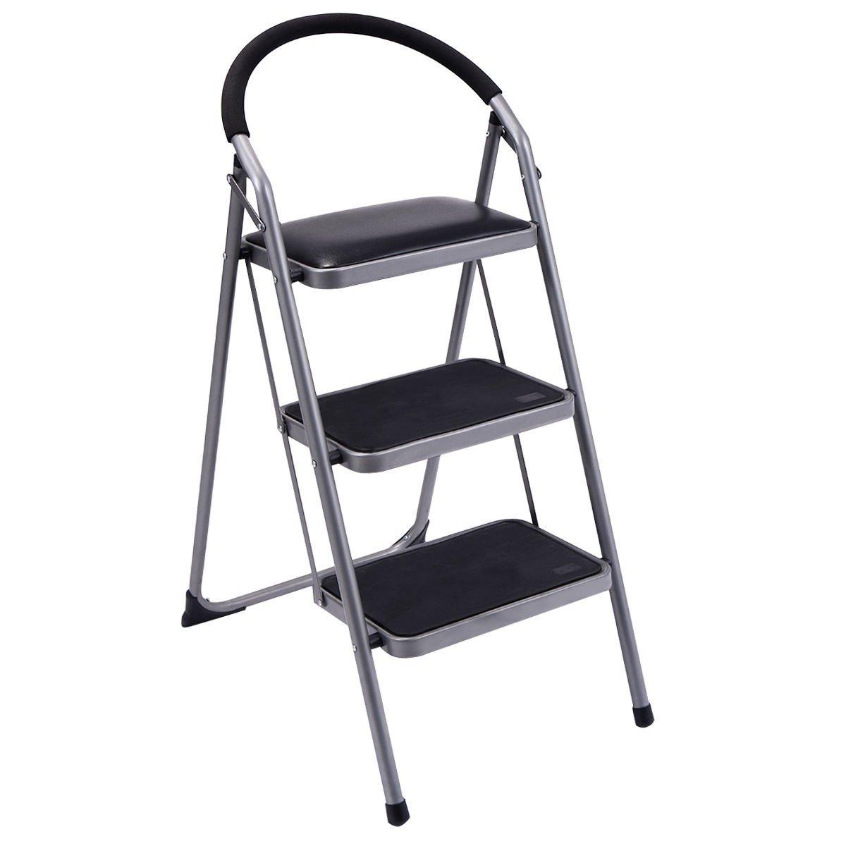 Ginatex Non-slip 3 Step Ladder Lightweight Folding Stool Platform Heavy Duty Industrial (3 Step)