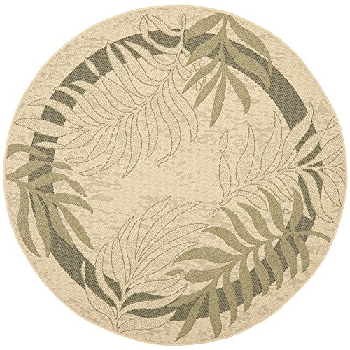 Safavieh Courtyard Collection CY7836-14A5 Cream and Green Indoor/ Outdoor Round Area Rug (5'3