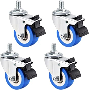 sourcing map 1.5 Inch Swivel Casters Wheels PP Plastic Wheel Top Plate Mounted Pack of 4 132lb Total Load Capacity