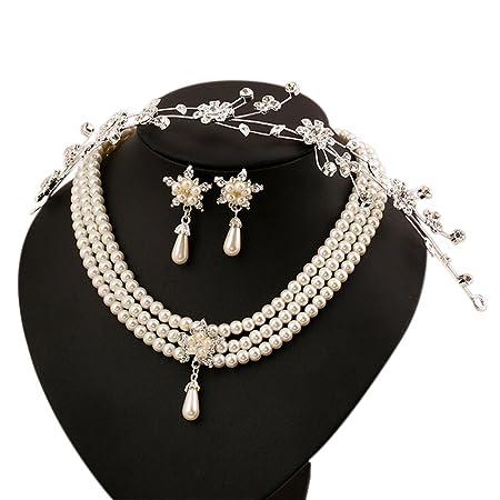 0f32f6b36cf5 Scrox Flor de la novia coreana con adornos de diamantes exquisita novia  collar de perlas conjunto de joyas  Amazon.es  Electrónica