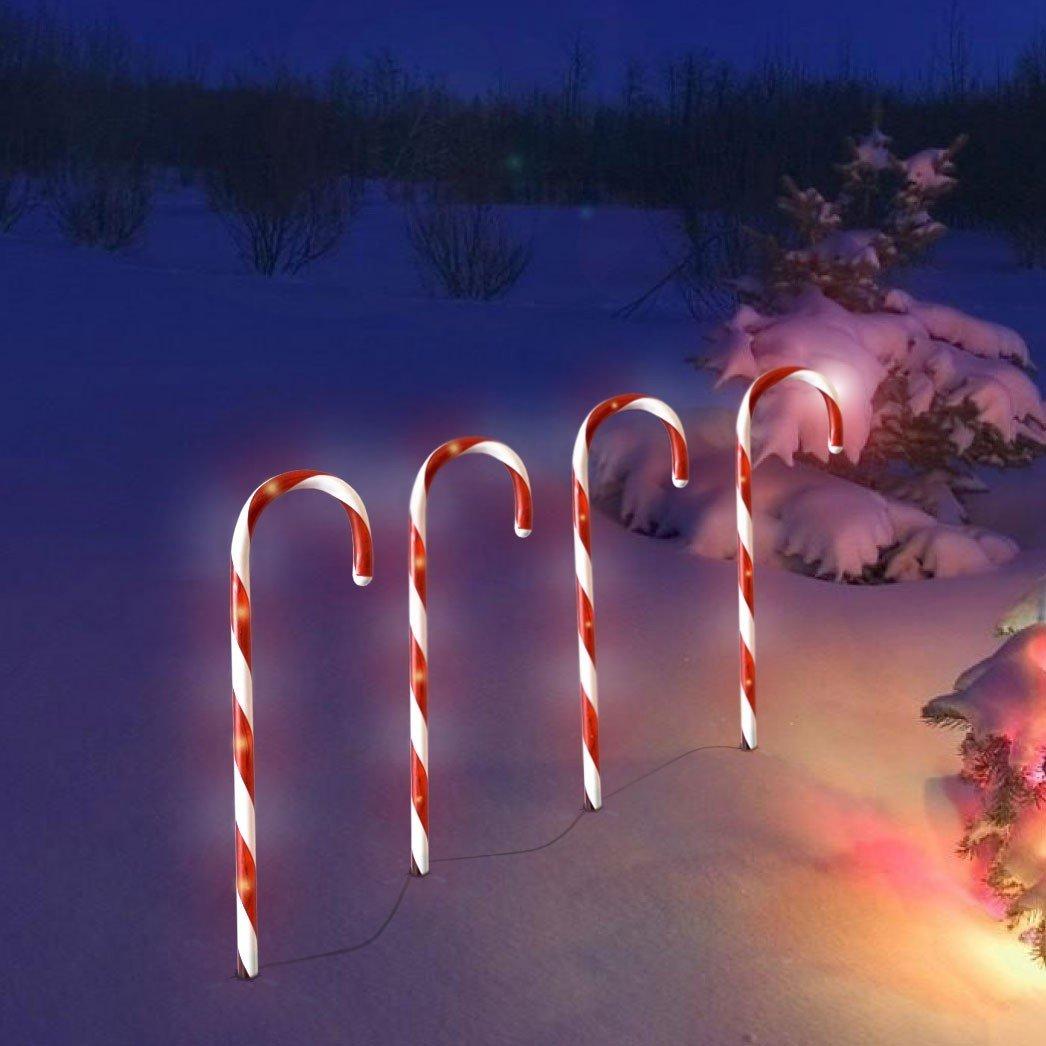 Wohaga 4er Set LED-Leuchtstäbe 32 LED-Lichter je 44cm hoch mit Erdspieß Außenbeleuchtung 'Zuckerstange' Lichterkette LED Licht Außendekoration Leuchtstab Weihnachtsdeko Gartendekoration