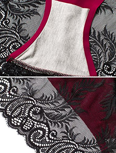 POKWAI Las Mujeres Atractivas Laceies Ropa Interior Bajo La Cintura De La Ropa Interior Dulces Pantalones Tirantes De Encaje Con Las Bragas Super Cómodo A2