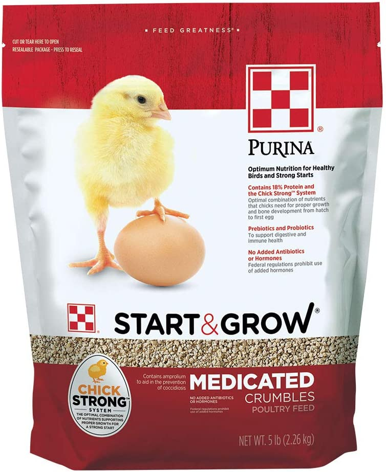 Purina Start & Grow Starter/Grower Medicated Feed Crumbles, 5 lb bag