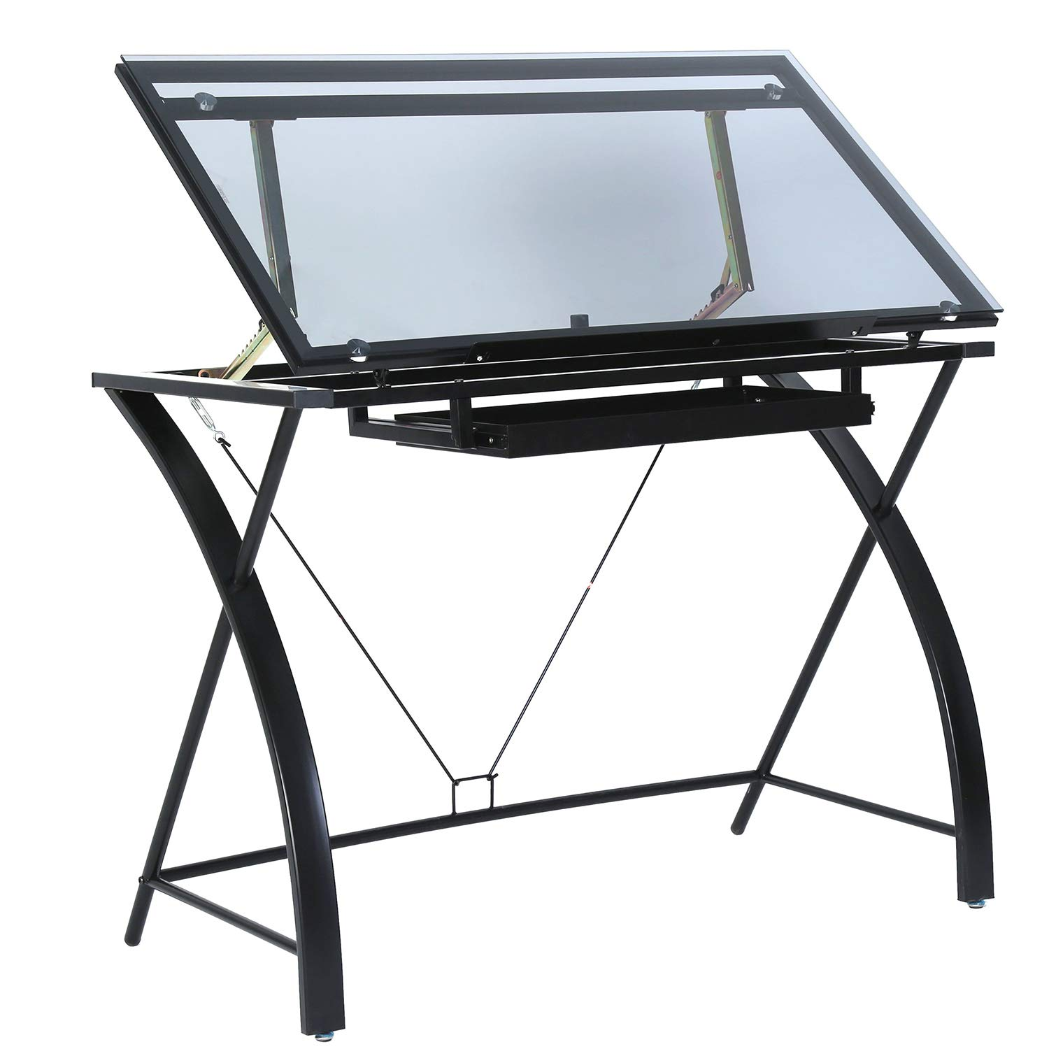 Glass Top Drafting Table - Tiltable and Adjustable Drawing Desk for Artists - Modern Craft Station with Large Working Surface - for Artwork, Graphic Design, Sketching and Tracing - Grey Tempered Glass by MEEDEN