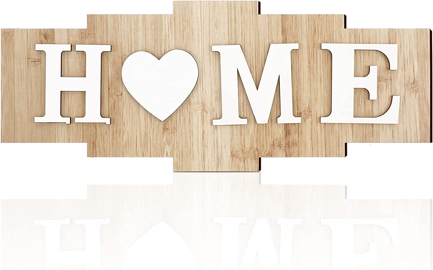 Home Signs for Home Decor, Wood Home Sign, Home Heart Rustic Wall Decor, Sweet Farmhouse Wooden Wall Sign Decoration Wood Letters Ornament for Bedroom, Living Room, Wedding Decor (Natural Color)