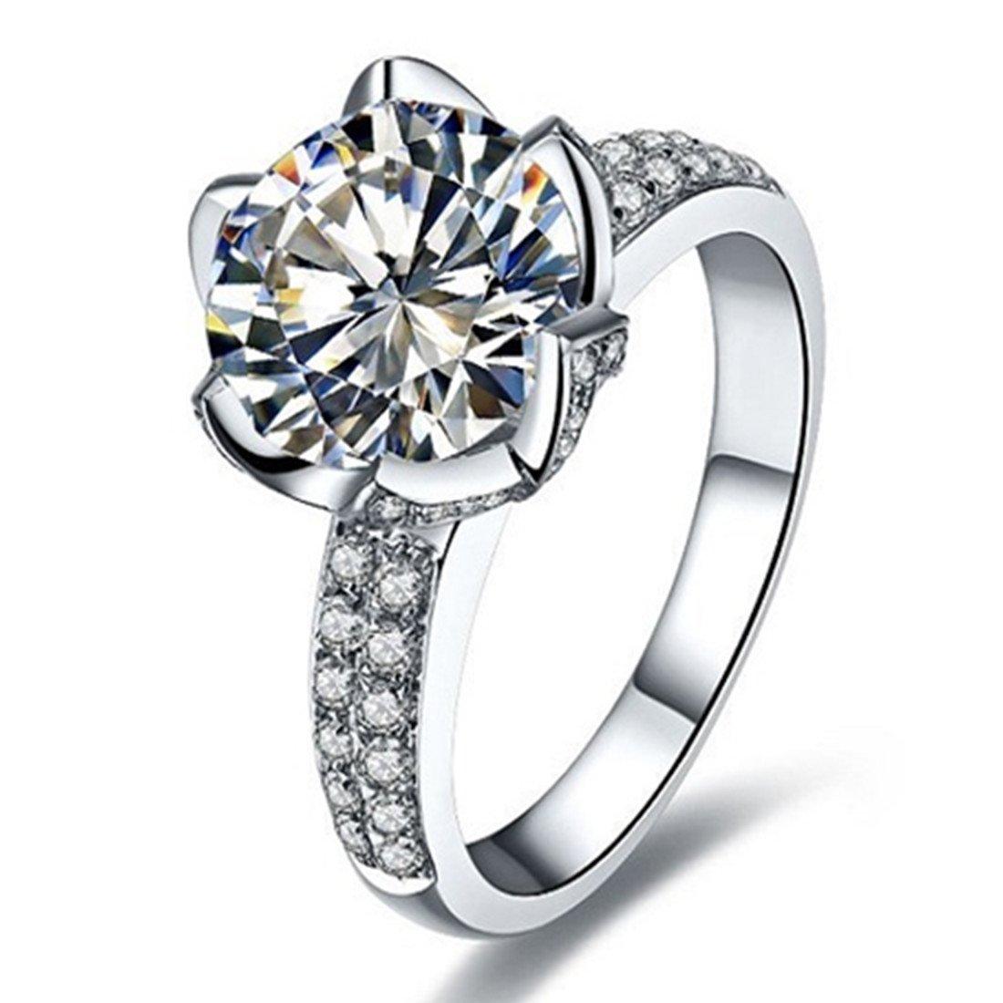 3CT Test Real 18K White Gold Moissanite Diamond Ring Women Lotus Jewlery Engagement Brand Ring