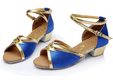 WYMNAME Mädchen Latin Tanzschuhe Dancing Schuhe Gesellschaftstanz Niedrigen Absätzen [Leise Unten] Verschleißfeste Ballroom Dance Schuhe-Blau Fußlänge=20.3CM(8Inch) a2ZeDBNP