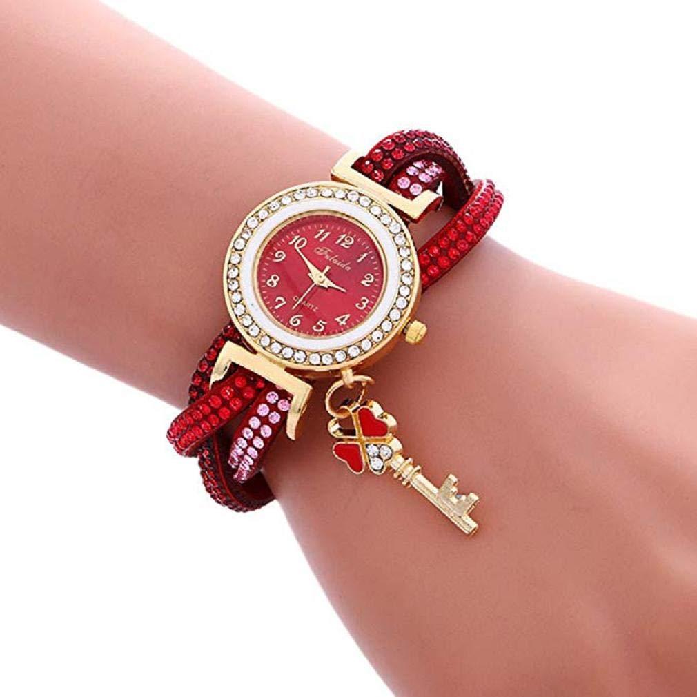 Scpink Promoción Relojes de Pulsera para Mujer Relojes de señoras de liquidación Relojes de Mujer a la Venta Relojes de Cuero (Rojo): Amazon.es: Relojes
