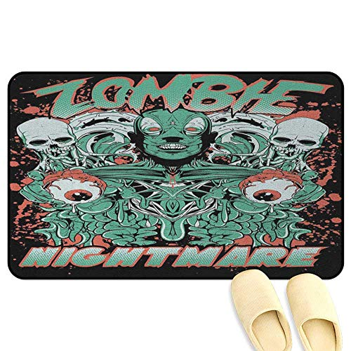 homecoco Zombie Microfiber Absorbent Bath Mat Retro Style Nightmare with Skulls Ghost Characters Wild Illustration Jade Green Salmon Black Rubber Front Entrance Outside Doormat W31 x L47 -