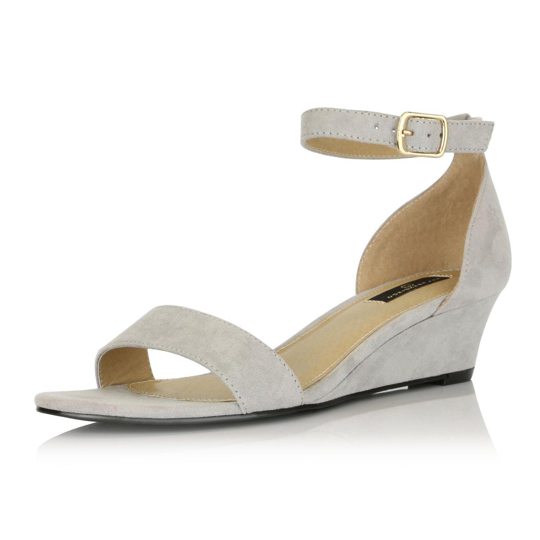 DailyShoes Women Wedge Low Heel Ankle Strap Fashion Sandal Shoes, Grey SV, 7.5 B(M) US