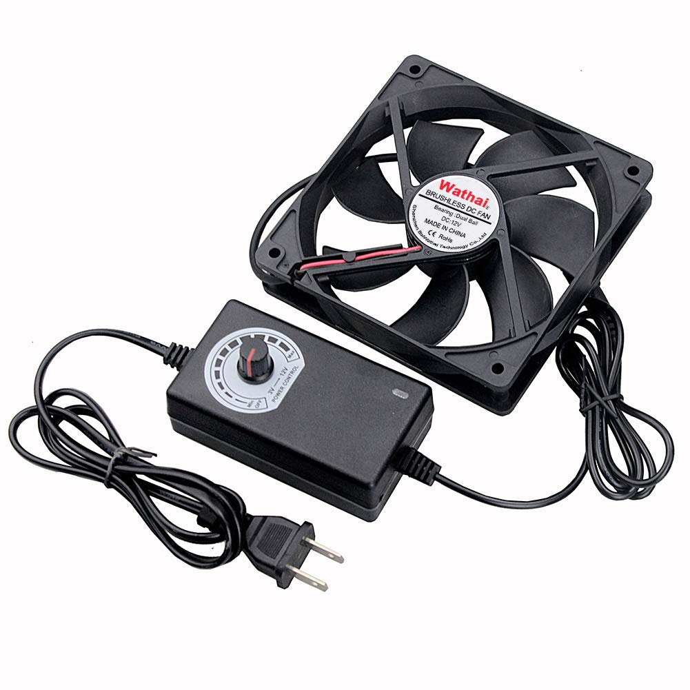 Wathai 120mm x 25mm 110V 220V AC Powered Fan with Speed Controller 3V to 12V, for Receiver DVR Playstation Xbox Component Cooling
