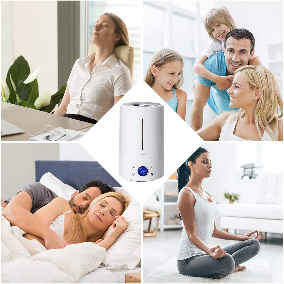 Office LED Display Baby 3 Mist Level Timer//Sleep Mode Quite Filter Free 5L // 1.32 Gal for Bedroom Waterless Auto Off Portable Home PROALLER Ultrasonic Cool Mist Humidifier for Large Rooms