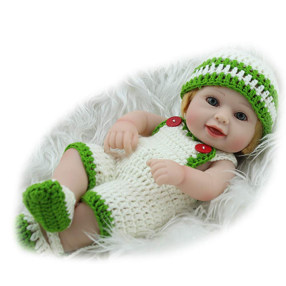 CHENG Lovely Baby Doll Girl Nuovo Reborn Baby Doll Silicone Morbido Vinile Rinato Giocattolo con Maglione,Colore1,28Cm