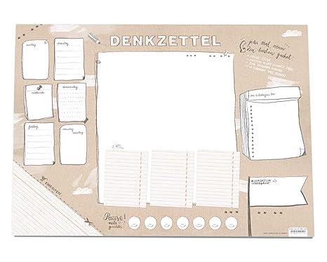 Für Listenfreaks! Große XXL A2 Schreibtischunterlage DENKZETTEL | Papier zum Abreißen | 42x59 cm, 25 Blatt Schreibunterlage A
