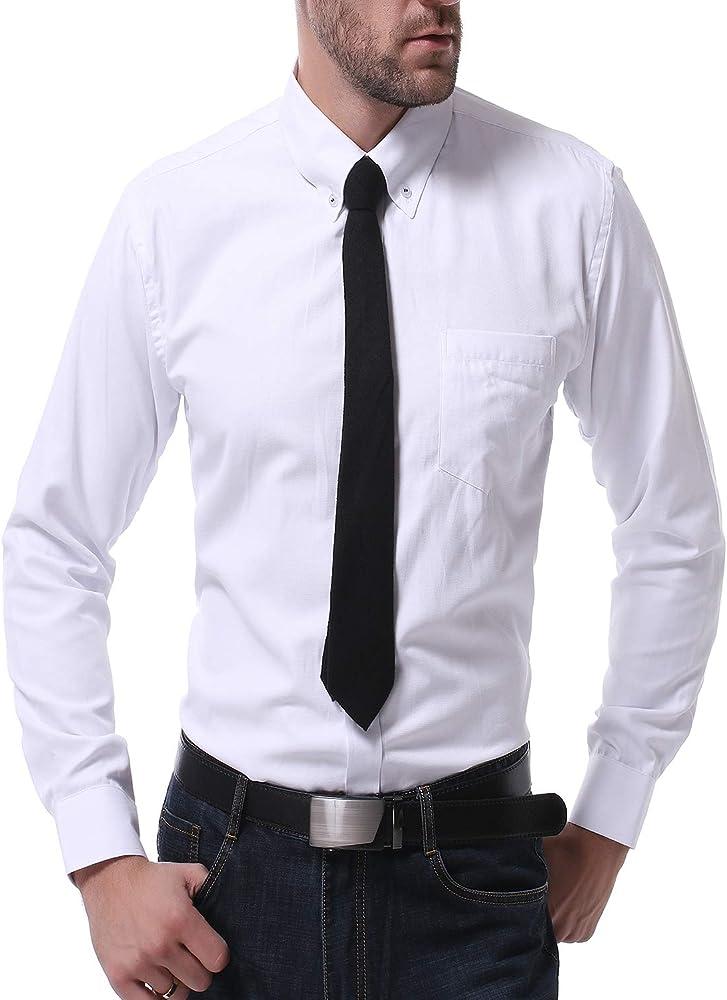 TS, RD.UG Camisa de Vestir para Hombre, Lisa, Ajustada, Manga Larga, Cuello Giratorio, Camisa con Botones - Blanco - XX-Large: Amazon.es: Ropa y accesorios