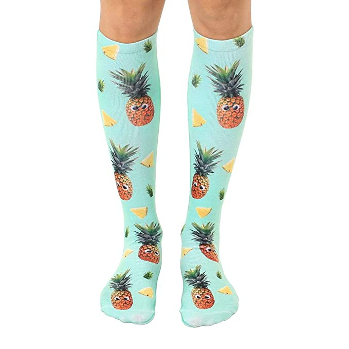 b2865962e Amazon.com  Googly Eyes Pineapple Polyester Stretch Unisex Knee High ...