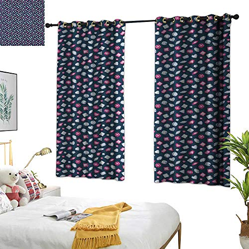 Warm Family lace Curtains Diamonds,Round Marquise Square and Heart Shape Arrangement on Dark Color, Dark Blue Pink Baby Blue 54