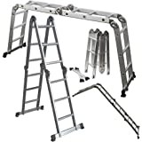 OxGord Aluminum Folding Scaffold Work Ladder 11.5 ft Multi-Fold Step Light Weight Multi-Purpose extension - 350 LB Capacity
