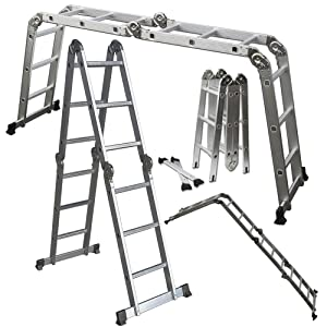 OxGord Dual Height Aluminum Folding Ladder, 330 lb. Capacity