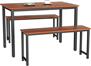 MIERES 3 Piece Modern Dining Table Kitchen Sets with Two Benches Home Furniture, Saving Space for Restaurant, Coffee Shop, Espresso