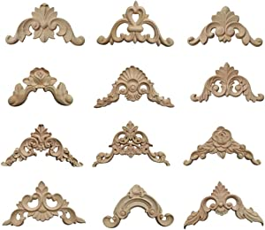 ARTIBETTER 12PCS Wood Carved Decal Corner Onlay Applique Decorative Applique Flower Furniture Home Decorations