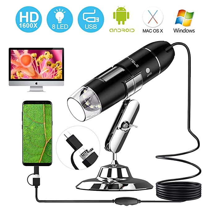 USB Microscope, UMTELE 50X - 1600X Magnification 2MP Handheld Microscope  with 8 LED Mini Camera with OTG Adapter and Metal Stand, Compatible with  Mac