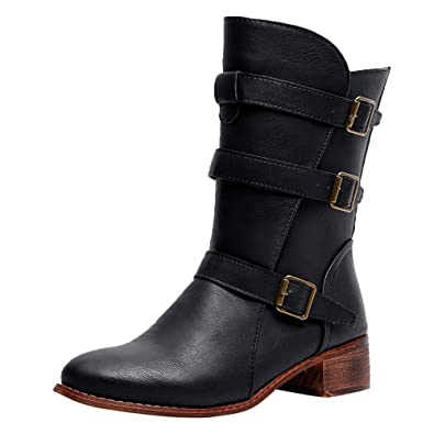 Amazon.com: BETTERUU Women Keep Warm Shoes Leather Middle Tube Zipper Martin Boots Round Toe Shoes: Shoes
