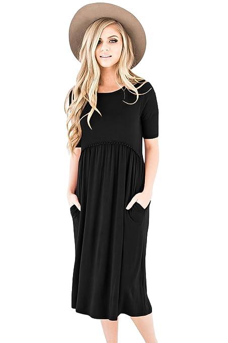 Vestido de media manga negro de punto midi para fiesta, vestido de noche con vestido
