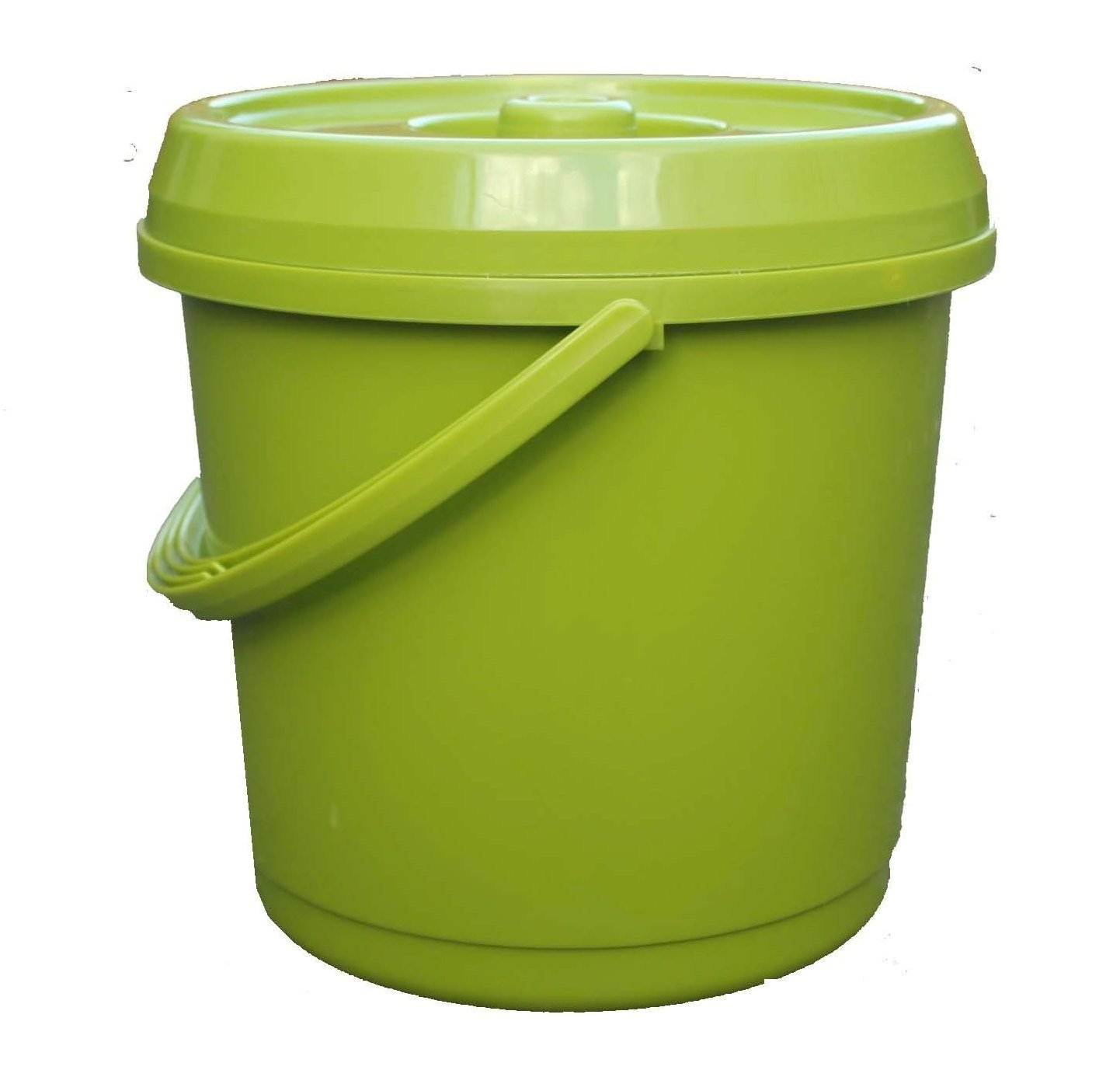 14L Litre GREEN Plastic Bucket With Lid Carry Handle Ideal for Tub / Bucket / Animal Feed / Bird Seed by S&MC Homeware
