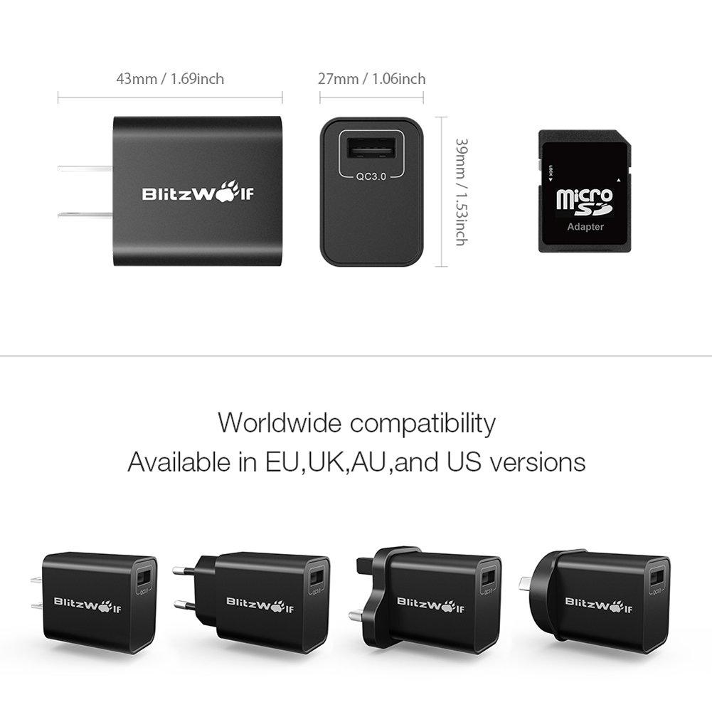 USB Ladegerät, BlitzWolf 18W USB Netzteil Wand Adapter mit 1m 2.4A Micro USB Kabel für iPhone 7 / 6 / 6 Plus, iPad Air 2 / Mini 3, Samsung Galaxy S6 / S6 Edge, Nexus, HTC M9, Motorola, LG, Qualcomm QC2.0, QC3.0, HUAWEI FCP, BC1.2 und usw(Sc