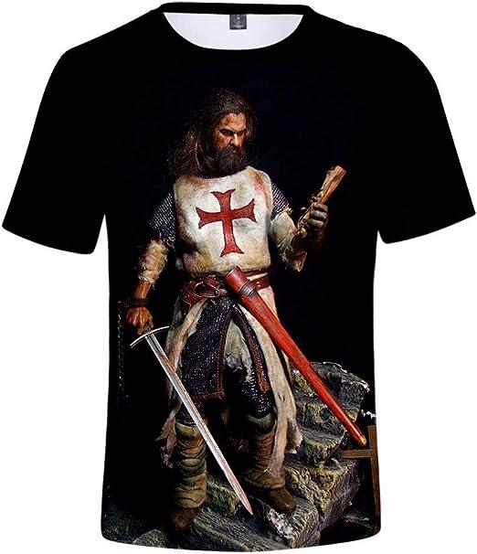 Camiseta Knights Templar Camiseta Unisex Medieval Crusade Cosplay Jersey De Cuello Redondo De Manga Corta Impreso En 3D