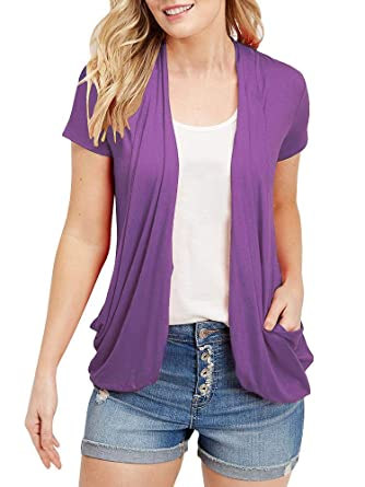 abe66bce9eb7 Women s Summer Draped Open Front Cardigans Short Sleeve Lightweight Tops  with Pockets(Purple ...