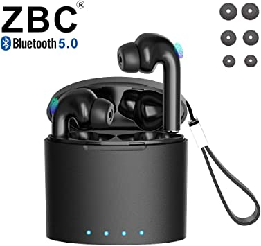 Wireless Earbuds Bluetooth 5.0 with Charging Case IPX7 Waterproof TWS Stereo Headphones in-Ear Built-in Mic Headset Premium Sound with Deep Bass for iPhone Android Apple Airpods
