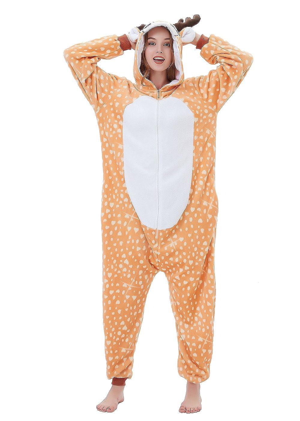 ABENCA Zip up Fleece Onesie Pajamas for Women Adult Cartoon Animal Christmas Halloween Cosplay Onepiece Costume