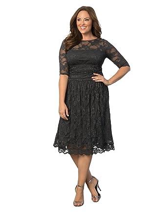 Black lace plus size cocktail dresses