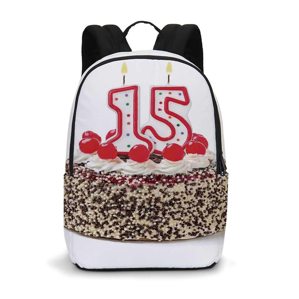 15th Birthday Decorations Modern simple Backpack,Chocolate Cherry Cake with Number Candles Surpise Party Theme for school,11.8''L x 5.5''W x 18.1''H