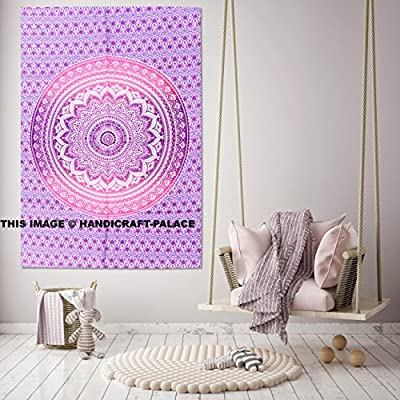 Handicraft-Palace Egyptian Ombre Mandala Wall Hanging Quilt Tapestry Sheet/Tribal Ethnic Hippie Bohemian Bedspread Blanket/Indian Traditional Psychedelic Cotton Gypsy Meditation Duvet Throw