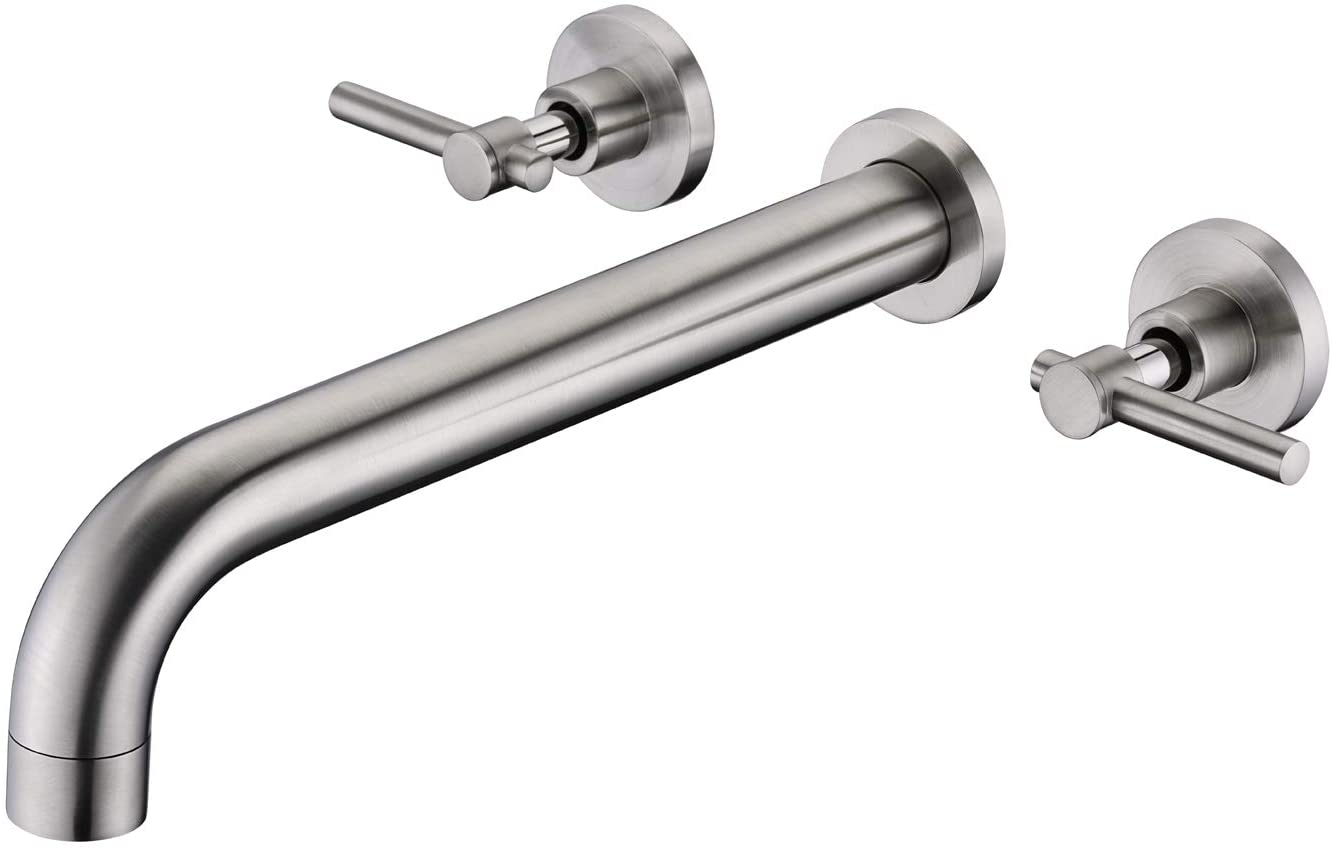 Wall Mount Tub Filler Faucet Brushed Nickel High Flow Bathtub Faucet Two Handles Solid Brass, Long Spout Reach, sumerain