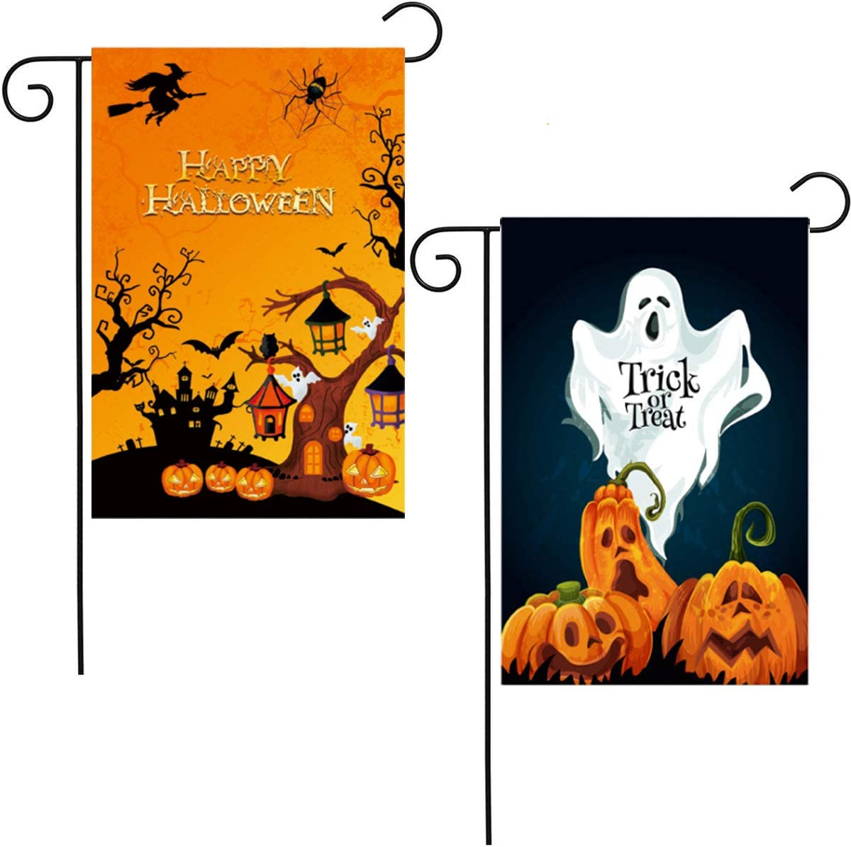 2 Pack Halloween Garden Flags Double-Sided Halloween Flags Vibrant Colors Pumpkin Castle Bat Decorative Flag Banner for Front Garden Yard Farmhouse Mailbox Porch