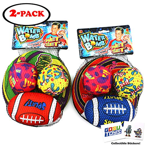 (Water Bomb Wet Set Water Splash Balls Water Football Water Frisbee Pool Toy Soakers Outdoor Sports with 2 GosuToys Stickers)